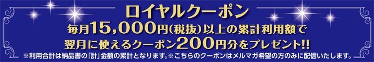 メルマガ希望者のみの特典!200円引きクーポンコードをアドレスに配信いたします。券ではございません。